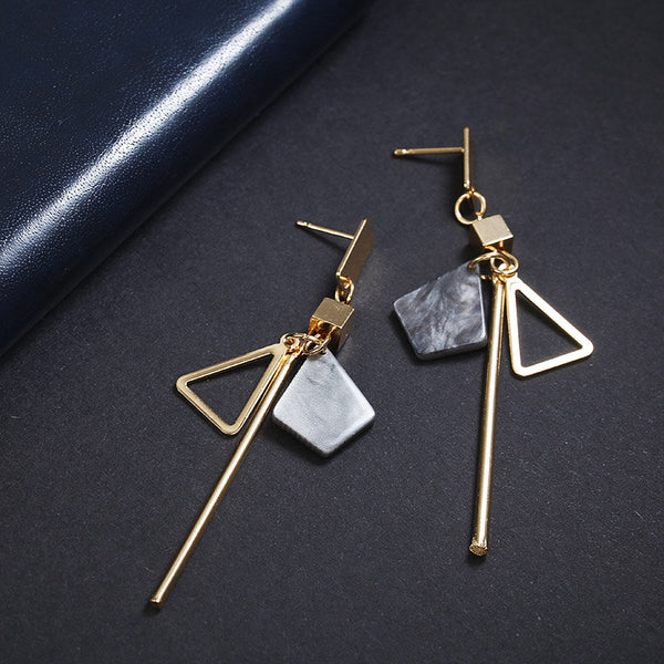 Women's Bohemian Simple Handmade Triangle Strip Drop Earrings-Boho Earrings-Junaizo.com