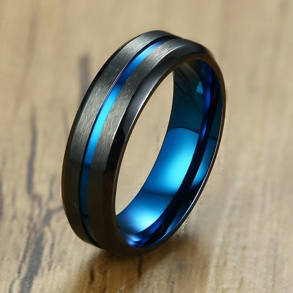 Men's Unique Thin Blue Line Matte Finished Stainless Steel Ring-Men's Rings-Junaizo.com