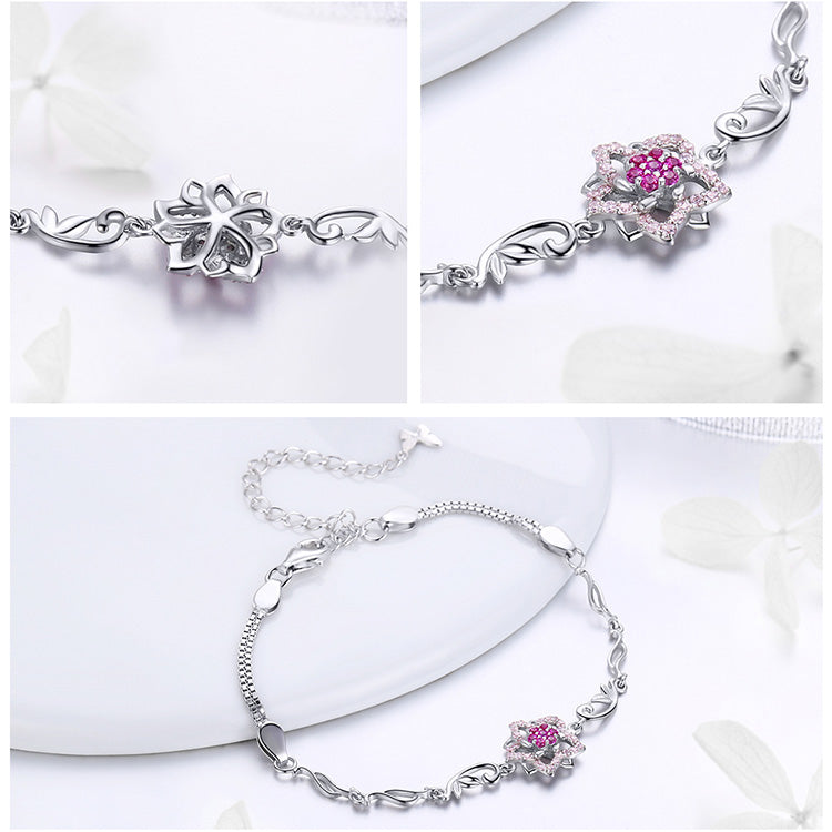 Women's 925 Sterling Silver Blooming Peach Love Flower Bracelet-Chain Bracelets-Junaizo.com