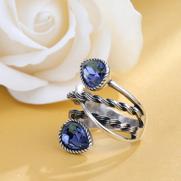 Women's Trendy Vintage Style Silver Color Cocktail Blue Stone Ring-Vintage Rings-Junaizo.com