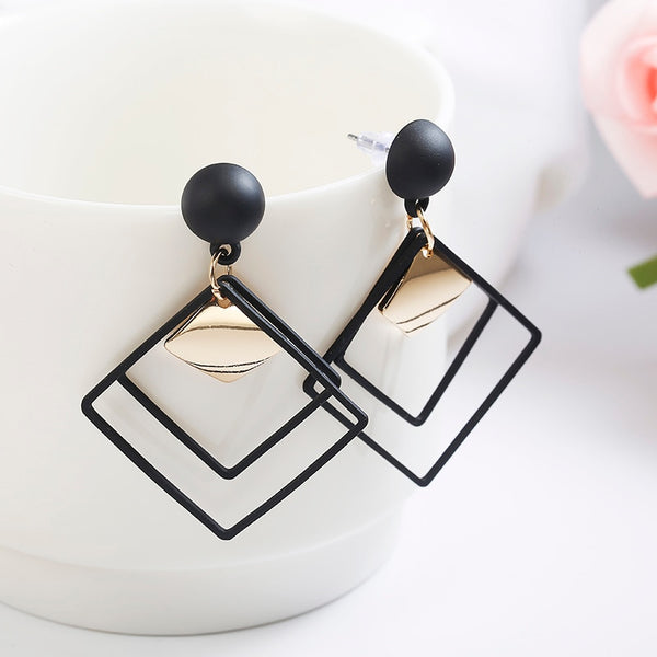 Women's Korean Wild Sequins Geometric Pendant Drop Earrings-Boho Earrings-Junaizo.com