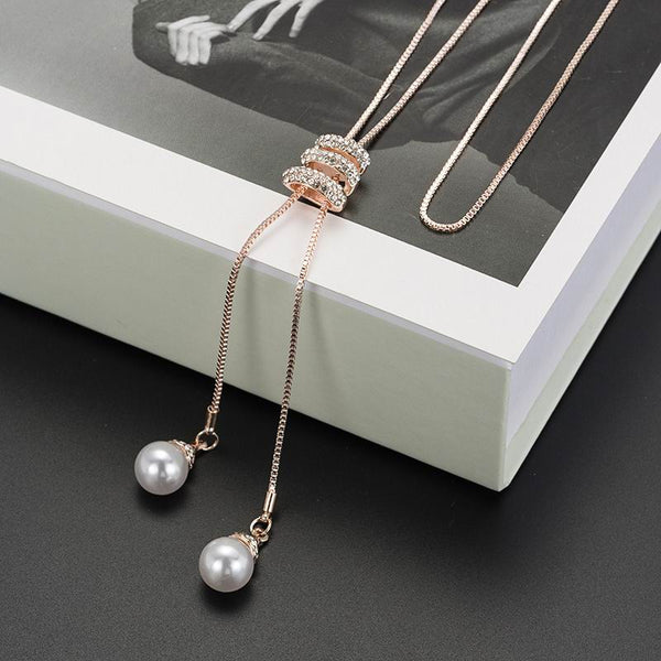Women's Rhinestone Simulated Pearl Tassel Long Pendant Necklace-Fashion Necklaces-Junaizo.com