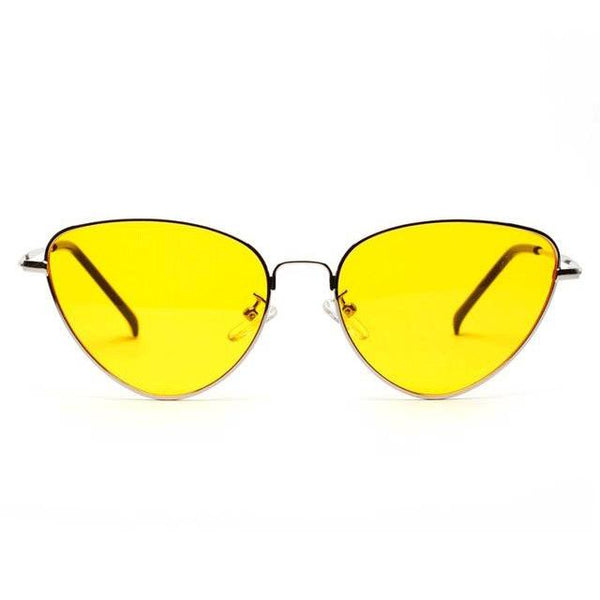 Women's Tinted Color Lens Vintage Shaped Cat Eye Sunglasses-Cat Eyes-Junaizo.com