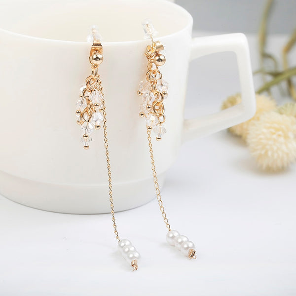 Women's Luxury Beaded Tassel Imitation Long Chain Drop Earrings-Boho Earrings-Junaizo.com