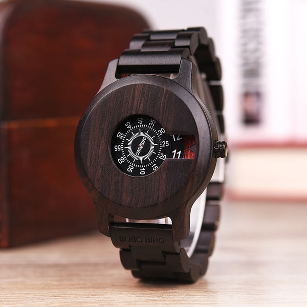 Men's Stylish Wooden Band Complete Calendar Quartz Wristwatch-Men's Quartz Watches-Junaizo.com