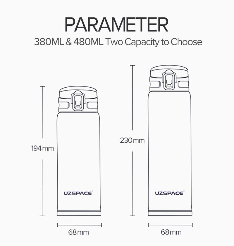 New 380/500ml Double Wall Stainless Steel Vacuum Flasks Thermos-Water Bottles-Junaizo.com