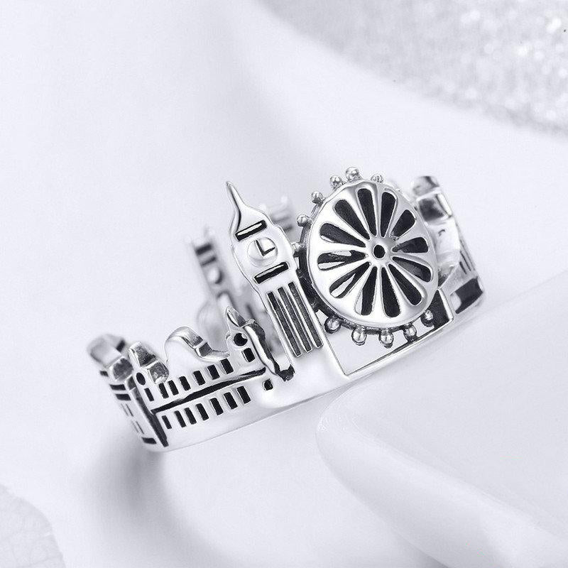 Women's High Quality 925 Sterling Silver London City Cocktail Ring-Silver Rings-Junaizo.com