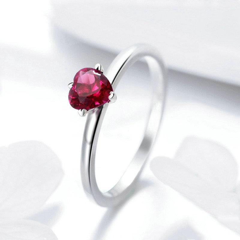 Women's 925 Sterling Silver Red Heart Pave Crystal CZ Finger Ring-Silver Rings-Junaizo.com