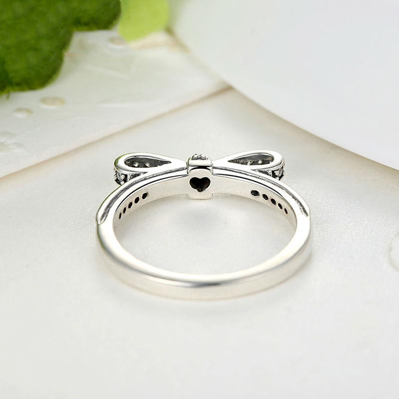 Women's 925 Sterling Silver Sparkling Bow Knot Stackable Ring-Silver Rings-Junaizo.com