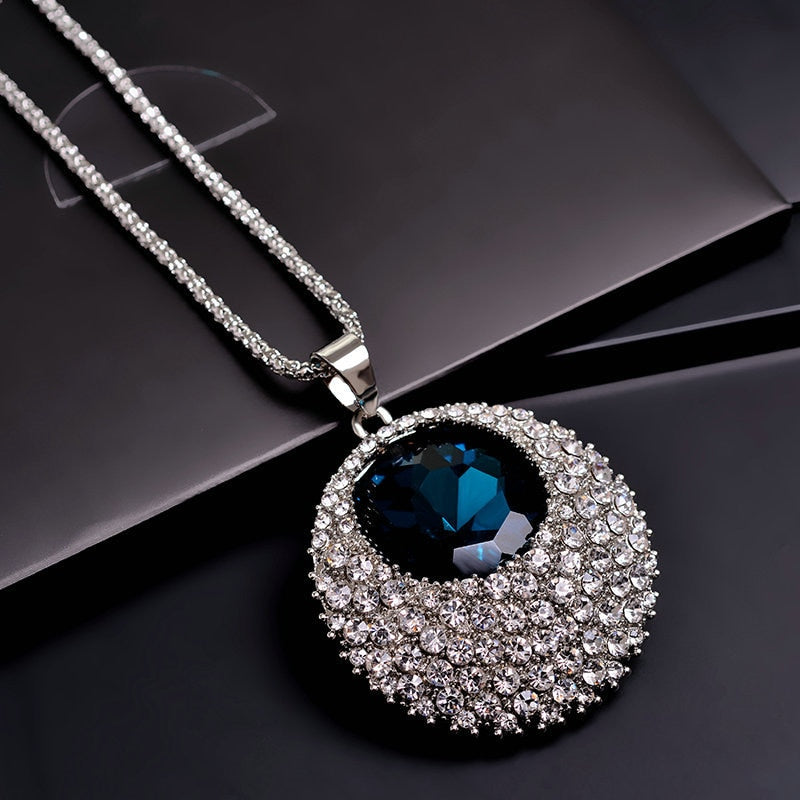 Women's Vintage Blue Crystal Link Chain Long Pendant Necklace-Fashion Necklaces-Junaizo.com