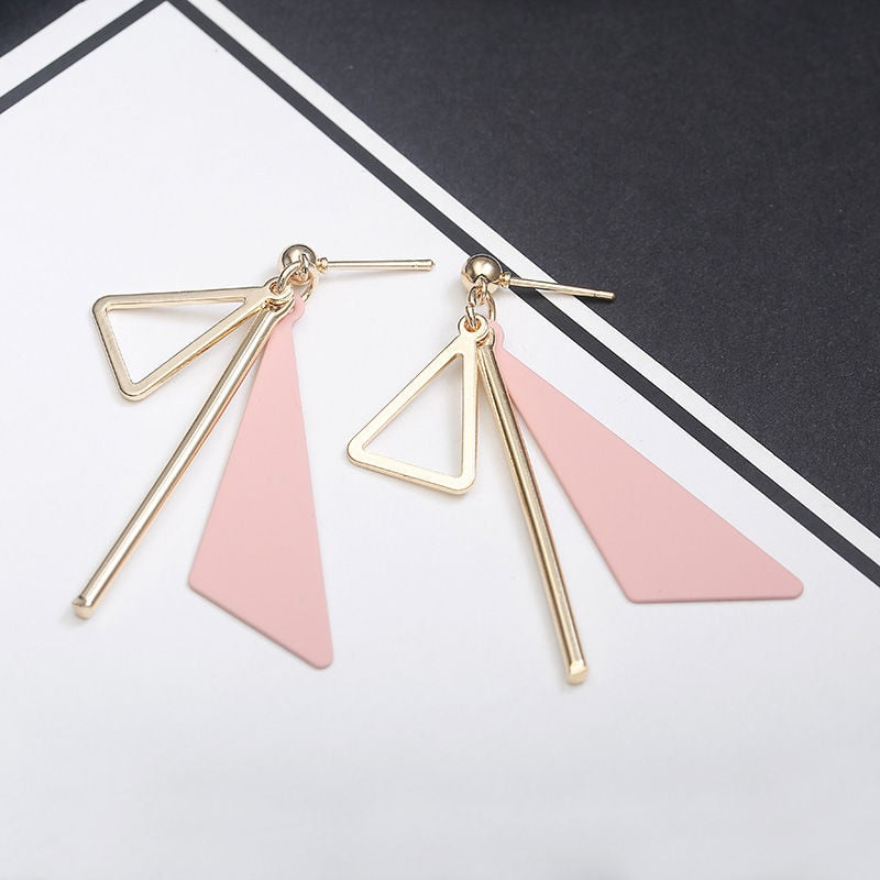 Women's Bohemian Geometric Metal Triangle Simple Drop Earrings-Boho Earrings-Junaizo.com