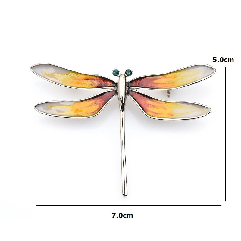 Unisex Vintage Shell Oil Enamel Dragonfly Insect Brooch Pin-Animal Brooches-Junaizo.com