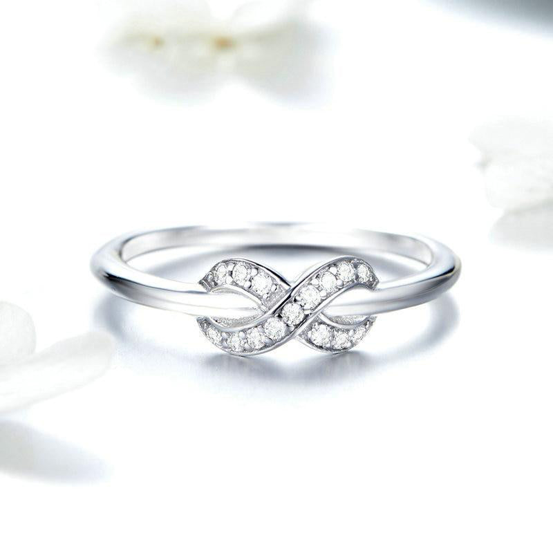 Women's 925 Sterling Silver Infinity Love Clear CZ Engagement Ring-Silver Rings-Junaizo.com