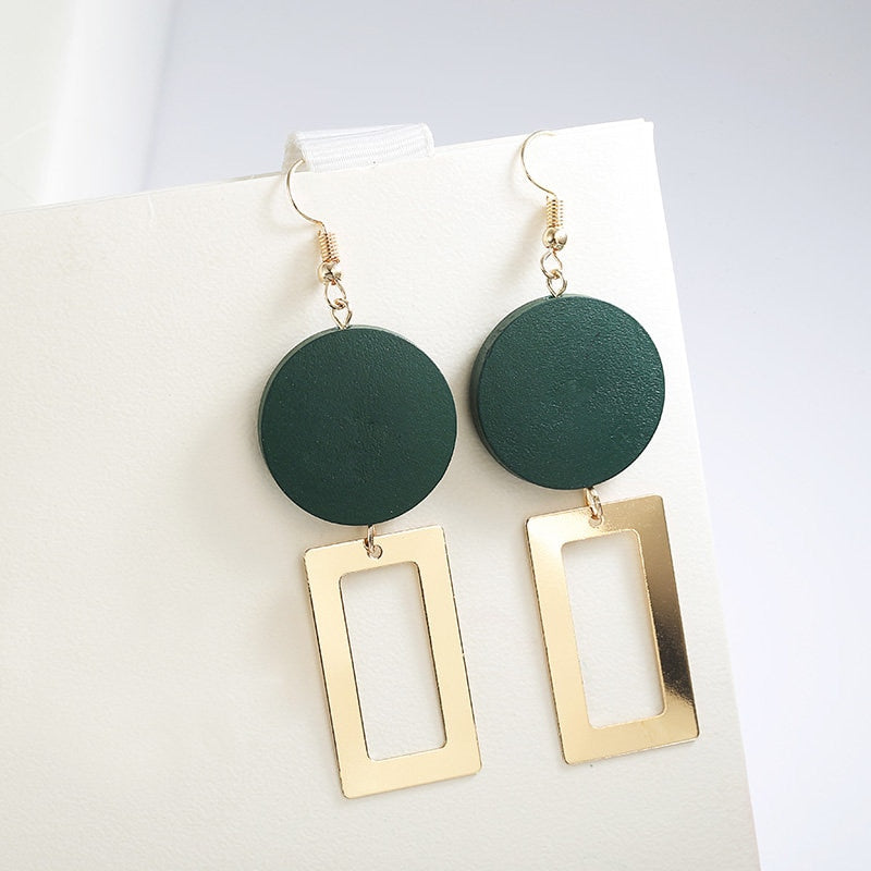 Women's Wooden Wafer Pendant Geometric Stitching Drop Earrings-Boho Earrings-Junaizo.com