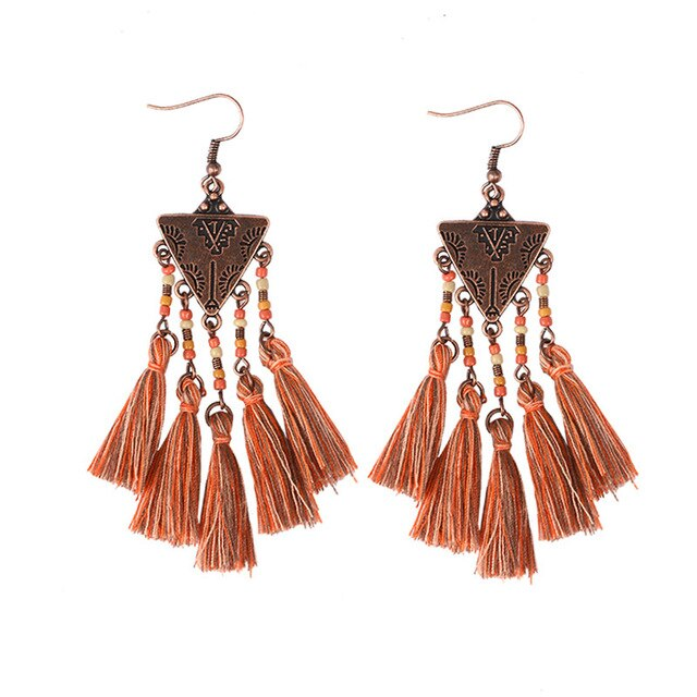 Women's Bohemian Colorful Long Fringed Vintage Dangle Earrings-Boho Earrings-Junaizo.com