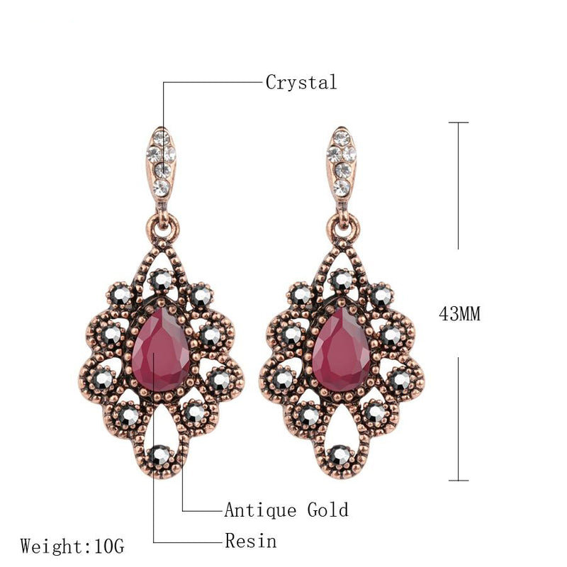 Women's Bohemian Style Gold Crystal Flower Ethnic Drop Earrings-Vintage Earrings-Junaizo.com