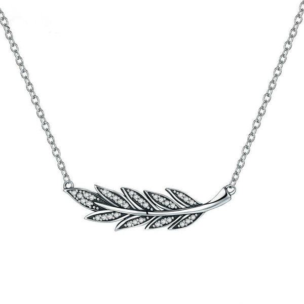 Women's 925 Sterling Silver Tree Leaves Clear CZ Pendant Necklace-Pendant Necklaces-Junaizo.com