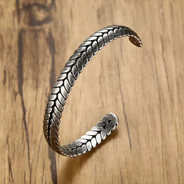 Men's Stylish Retro Stainless Steel Wheat Ear Shape Bangle Bracelet-Men's Bracelets-Junaizo.com