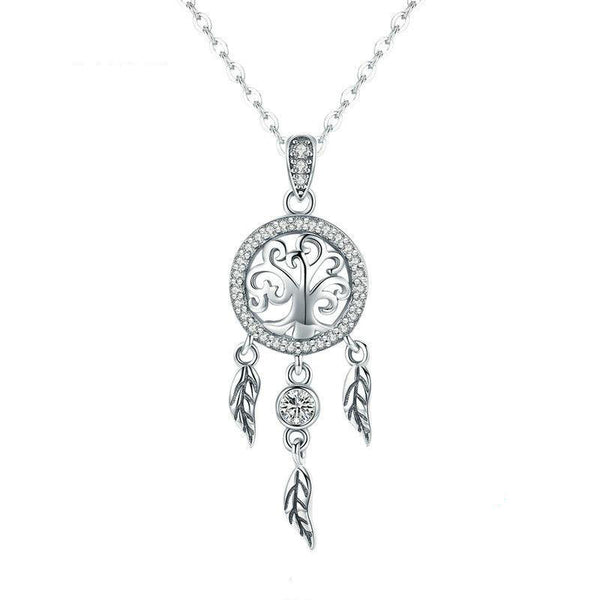 Women's 925 Sterling Silver Tree of Life Dream Catcher Pendant Necklace-Pendant Necklaces-Junaizo.com