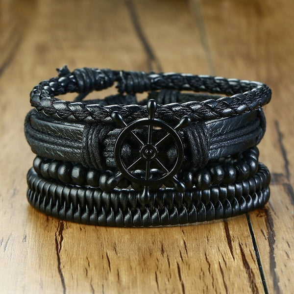 Men's Trending 4Pcs/Set Ethnic Tribal Braided Wrap Leather Bracelet-Men's Bracelets-Junaizo.com