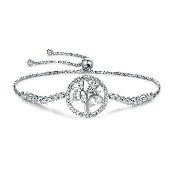 Women's 925 Sterling Silver Tree of Life Adjustable Chain Bracelet-Chain Bracelets-Junaizo.com