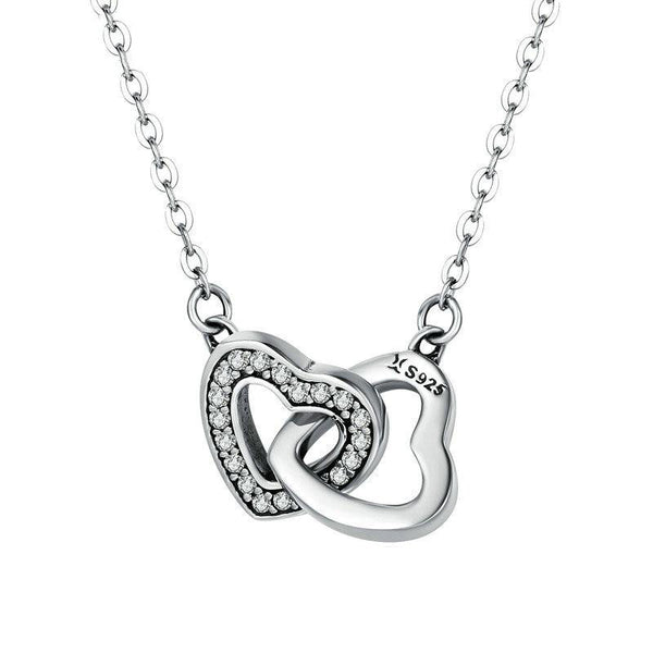 Women's 925 Sterling Silver Connected Heart Couple Pendant Necklace-Pendant Necklaces-Junaizo.com
