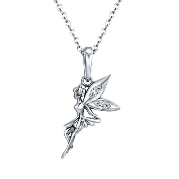 Women's 925 Sterling Silver Cute Flower Fairy Long Pendant Necklace-Pendant Necklaces-Junaizo.com