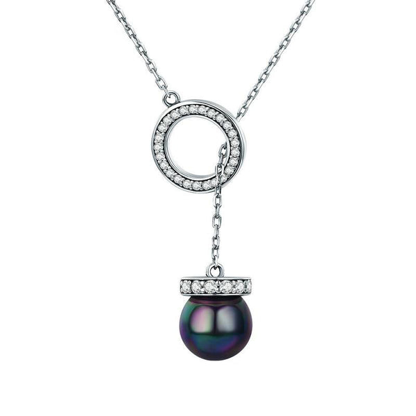 Women's 925 Sterling Silver Black Imitation Pearl Pendant Necklace-Pendant Necklaces-Junaizo.com
