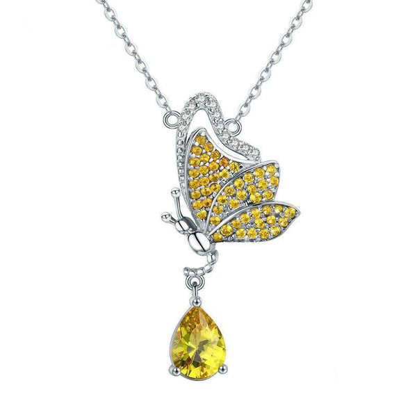 Women's 925 Sterling Silver Sparkling Butterfly Pendant Necklace-Pendant Necklaces-Junaizo.com