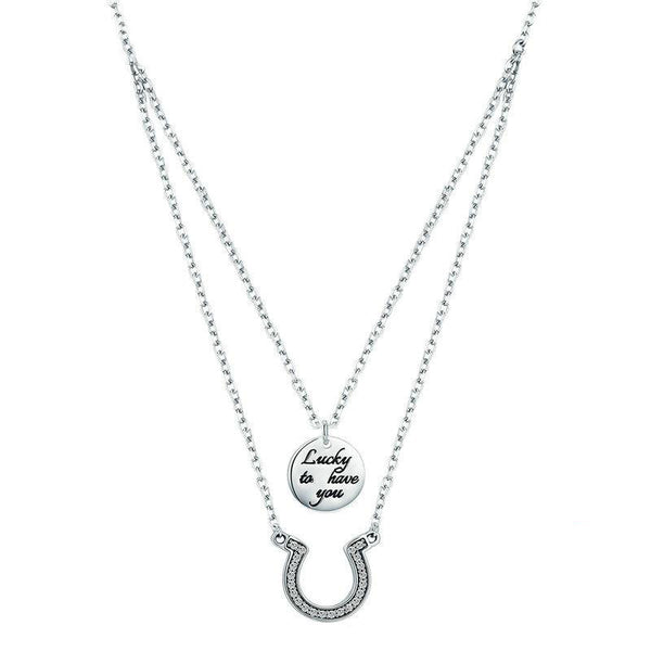 Women's New 925 Sterling Silver Horseshoe Coin Pendant Necklace-Pendant Necklaces-Junaizo.com
