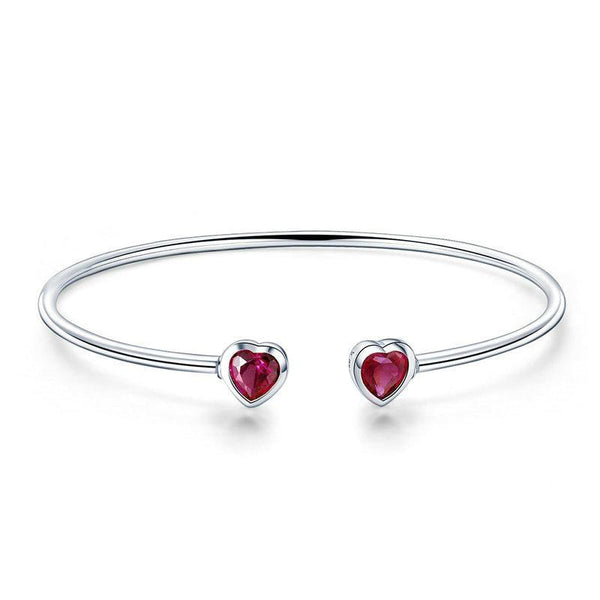 Women's 925 Sterling Silver Red CZ Sweet Love Heart Cuff Bangle-Bangle Bracelets-Junaizo.com