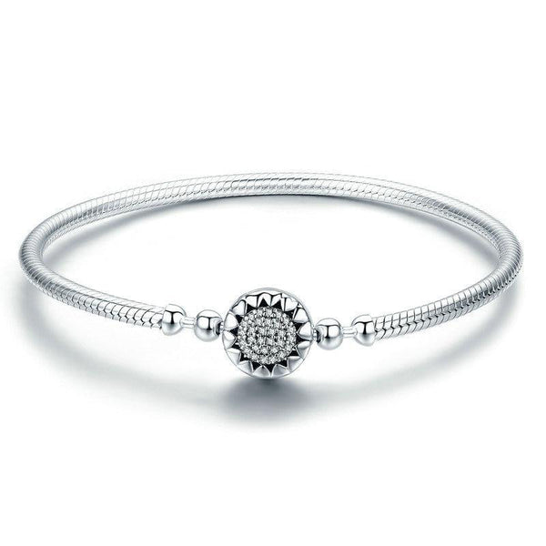 Women's New 925 Sterling Silver Bright Heart Snake Chain Bangle-Bangle Bracelets-Junaizo.com