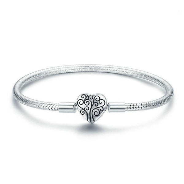 Women's 925 Sterling Silver Tree Of Life Heart Shape Clasp Bangle-Bangle Bracelets-Junaizo.com