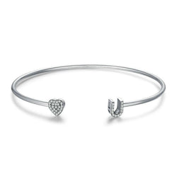 Women's 925 Sterling Silver I Love You CZ Adjustable Cuff Bangle-Bangle Bracelets-Junaizo.com