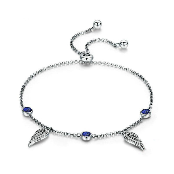 Women's 925 Sterling Silver Fairy Wings Feather Link Chain Bracelet-Chain Bracelets-Junaizo.com