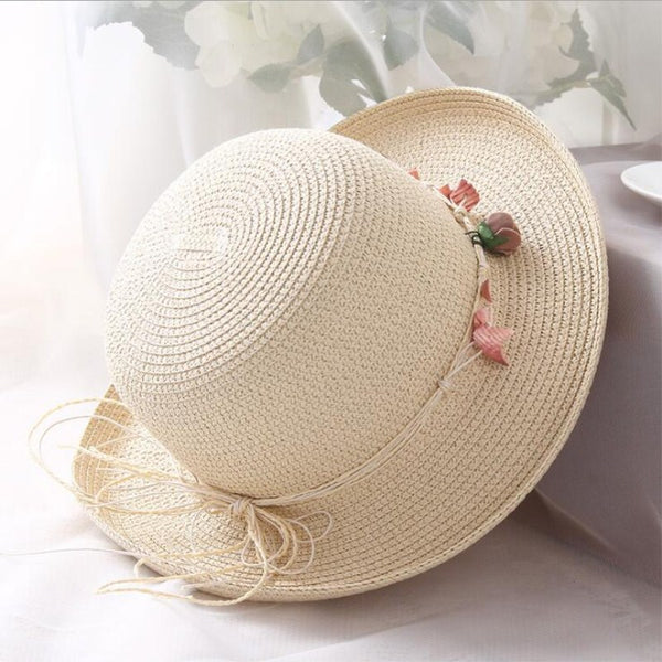 Women's Casual Fashion Adjustable Strap Panama Wreath Sun Hat-Sun Hats-Junaizo.com
