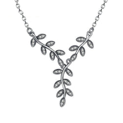Women's 925 Sterling Silver Sparkling Leaves Long Pendant Necklace-Pendant Necklaces-Junaizo.com