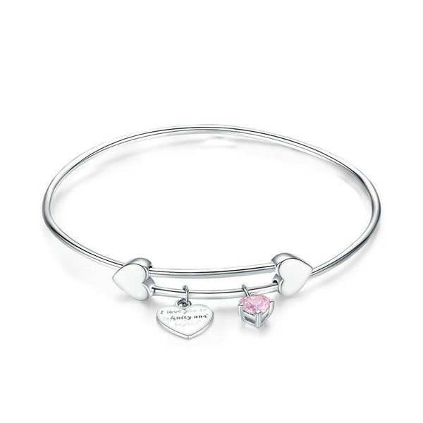 Women's Authentic 925 Sterling Silver I Love You Love Heart Bangle-Bangle Bracelets-Junaizo.com
