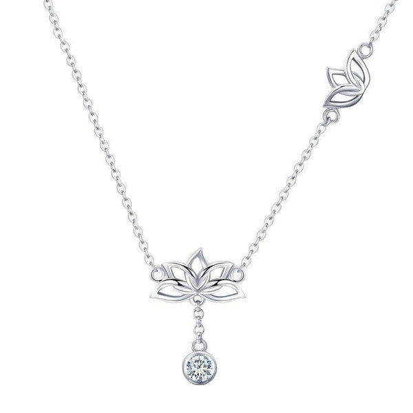 Women's 925 Sterling Silver Lotus Flower Clear CZ Pendant Necklace-Pendant Necklaces-Junaizo.com