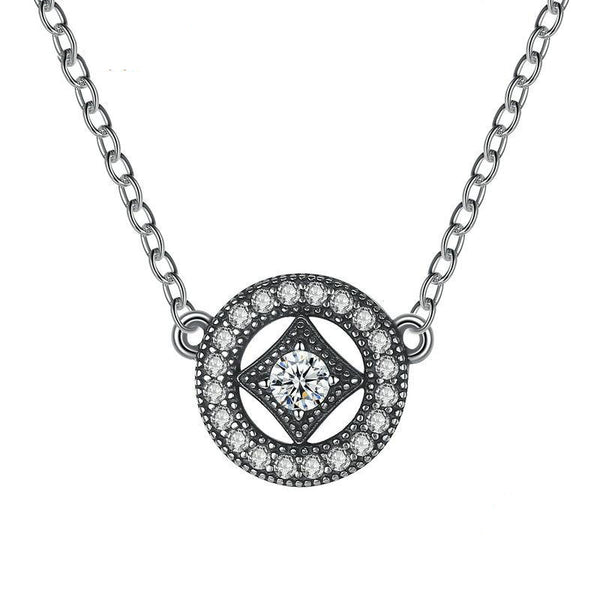 Women's 925 Sterling Silver Vintage Dazzling Allure Pendant Necklace-Pendant Necklaces-Junaizo.com