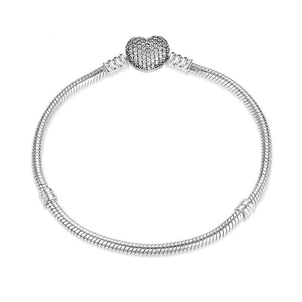Women's New 925 Sterling Silver Love Heart Snake Chain Bangle-Bangle Bracelets-Junaizo.com