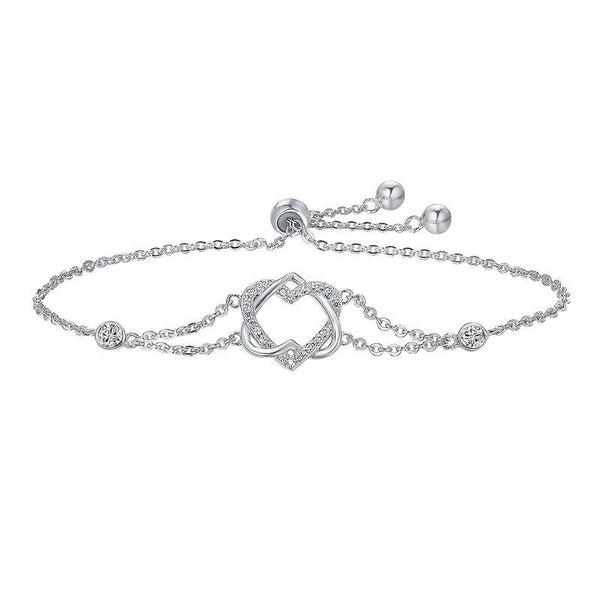 Women's 925 Sterling Silver Twisted Double Heart Chain Bracelet-Chain Bracelets-Junaizo.com