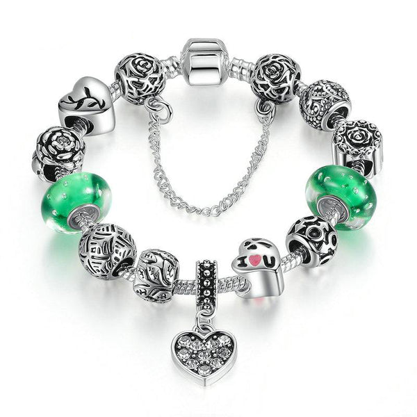 Women's Silver Color Green Glass Beads Ethnic Charm Bracelet-Charm Bracelets-Junaizo.com