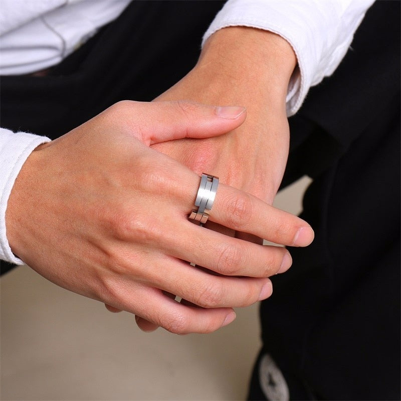 Men's Deformation Kissing Fish Never Fade Stainless Steel Ring-Men's Rings-Junaizo.com