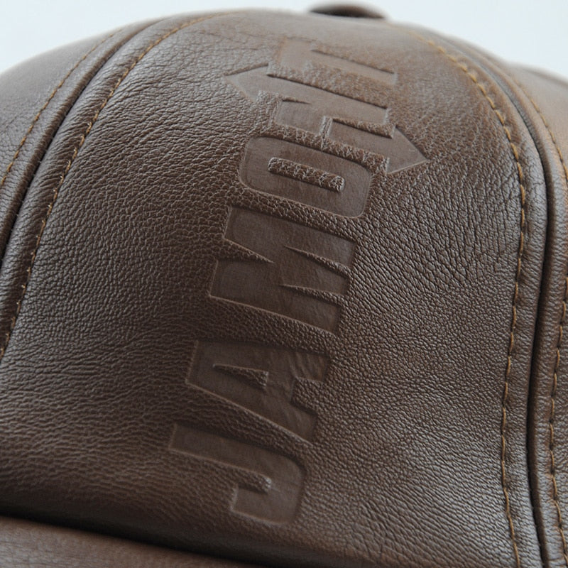 Unisex High Quality Adjustable Seize Leather Snapback Baseball Cap-Baseball Caps-Junaizo.com