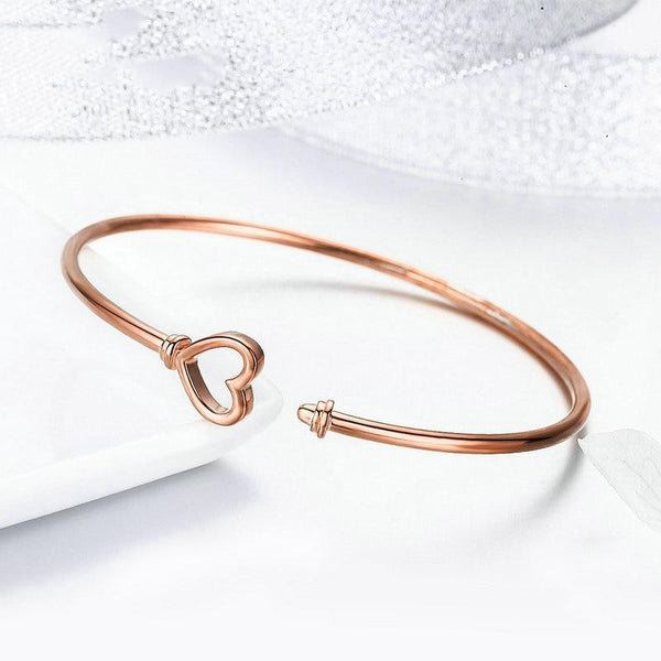 Women's Romantic 925 Sterling Silver Heartlock Shape CZ Bangle-Bangle Bracelets-Junaizo.com