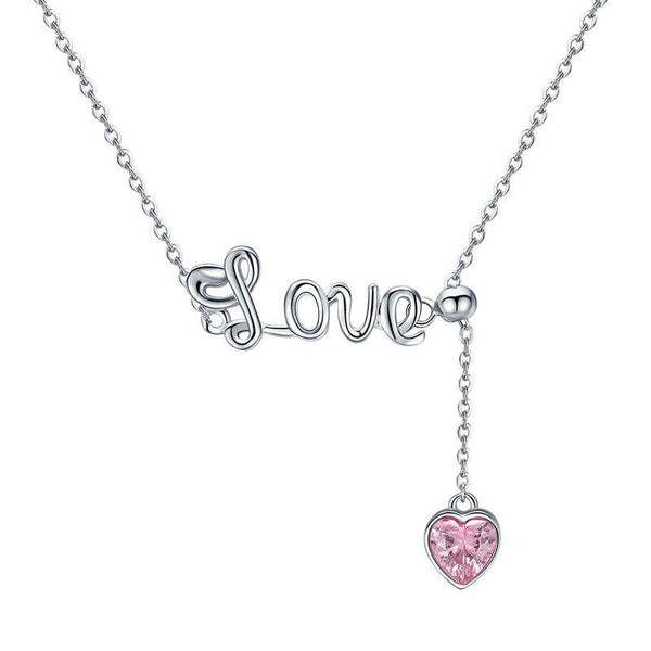 Women's 925 Sterling Silver Sweet Love Heart CZ Pendant Necklace-Pendant Necklaces-Junaizo.com