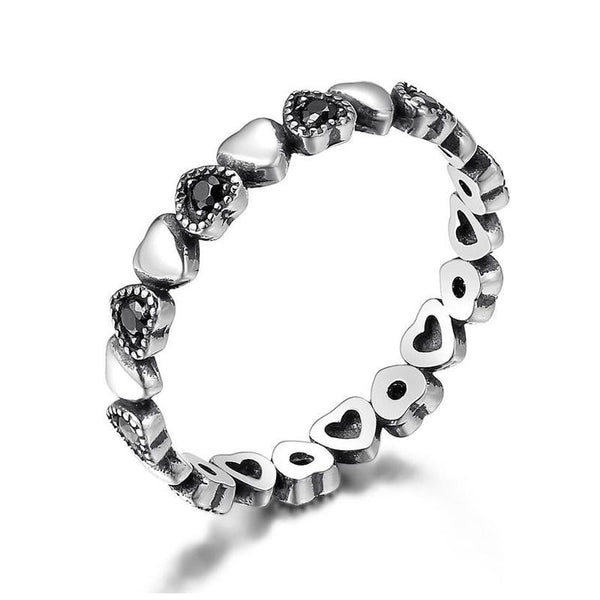 Women's 925 Sterling Silver Black Heart Clear CZ Finger Ring-Silver Rings-Junaizo.com