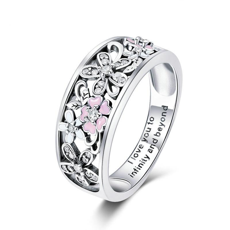 adecf3d9c Women's 925 Sterling Silver Daisy Flower And Infinity Love Pave Ring-Silver  Rings-Junaizo