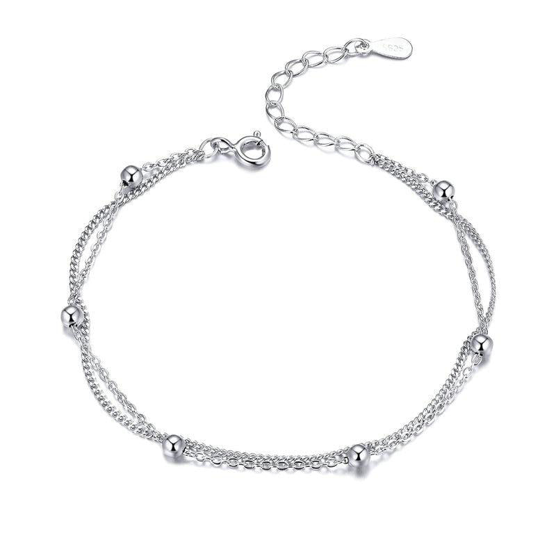 Women's 925 Sterling Silver Round Beads Double Layers Chain Bracelet-Chain Bracelets-Junaizo.com